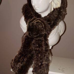 Vintage Fur Mink Pullthru Scarf Brown